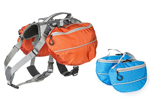 Dog Backpack for Hiking - Large and Small Saddlebag Sets for Camping or Hunting - Lightweight Harness - Removable Backpacks. Medium-Large Dogs. (Orange and Blue)