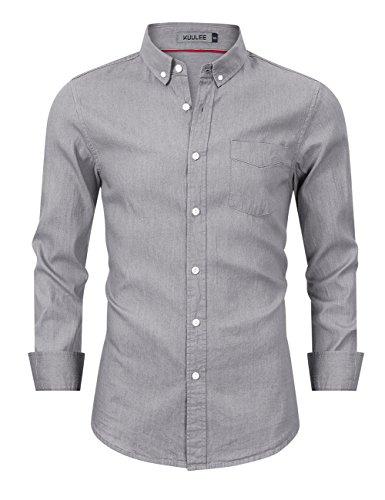 Kuulee Mens Casual Slim Fit Denim Shirt Dress Shirt Button Down Long Sleeve Shirt