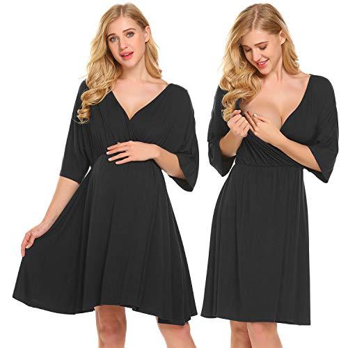 Ekouaer Hospital Nightgown Womens Short Sleeve Maternity Nursing Sleepwear Black S