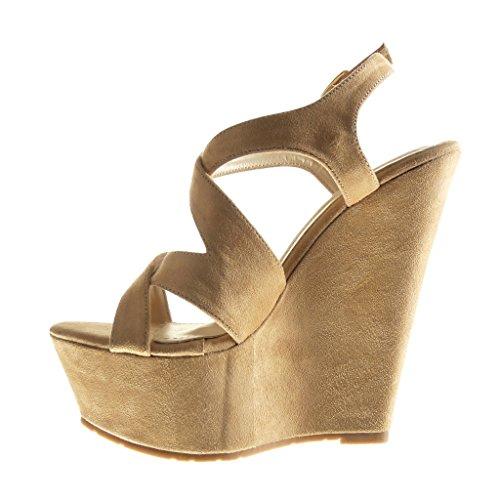 f25d4313d9651e ... Angkorly - Chaussure Mode Sandale Mule plateforme femme lanière Talon  compensé plateforme 15 CM - Beige ...
