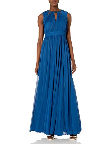 Adrianna Papell Women's Shirred Necklace Dress, Sapphire, 10