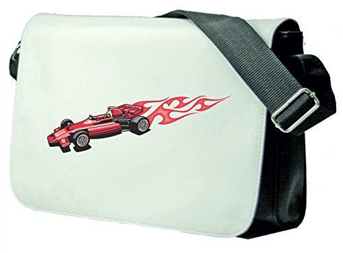 Schultertasche Formel V8 Sportwagen Rennauto mit roten Flammen America Amy USA Auto Car Luxus Breitbau V8 V12 Motor Felge Tuning Mustang Cobra Schultasche, Schulanfang Schwarz