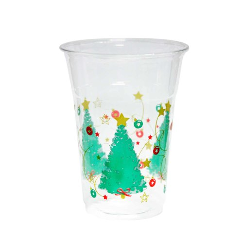 Party Essentials 20 Count Soft Plastic Printed Party Cups, 16-Ounce, Christmas Trees