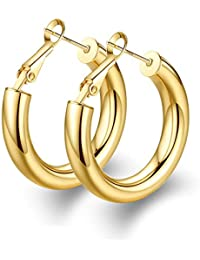 Thick Hoop Earrings Howllow 14K Gold Plated Gold Hoops for Women