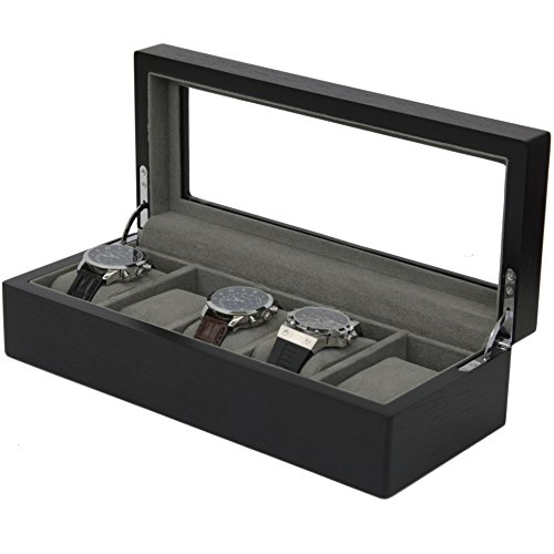 5 Watch Box Black Wood Grain XL Large Compartments High Clearance Glass Window (Black Watch Case)