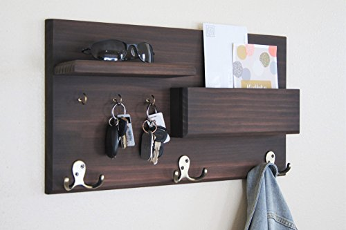 Midnight Woodworks Original Entryway Organizer Coat Rack with Floating Shelf and Key Hooks