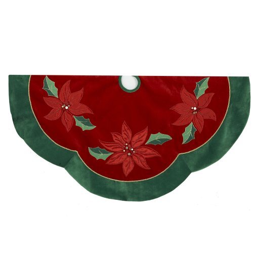 Kurt Adler Red/Green Poinsettia Scalloped Treeskirt, ()