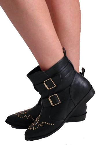 Boots Faux Ankle Womens Studded EyeCatchShoes Leather xzwvqnX