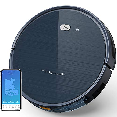 (Tesvor Robot Vacuum Cleaner with App & Remote Control, Upgraded 1500 Pa Max Suction, Ultra-Slim, Self-Charging Robotic Vacuum Cleaner for Pet Hair, Compatible with Alexa Voice Control -Moon Gray)