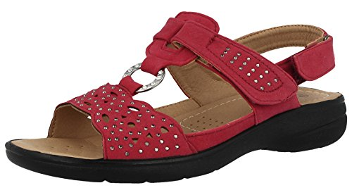 Cushion Walk Ladies Faux Suede Laser Cut Tbar Diamante Open Toe Touch Close Slingback Summer Sandals Size 3-8 Red NQr7Zv4I