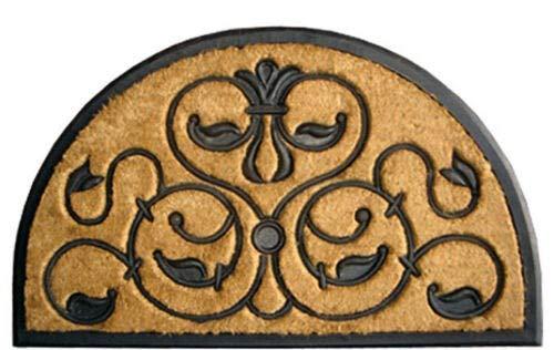 (PHUTTO GOODLUCK Door MATS - Firenze Demilune Rubber Back Coir Doormat - 18