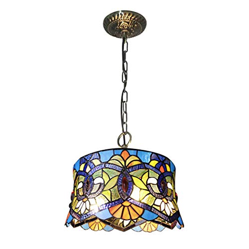 - Art Glass Tiffany Style Pendant Chandelier Victorian Style 3-Light Antique Wrought Iron Ceiling Pendant 14 Inch Wide, Blue