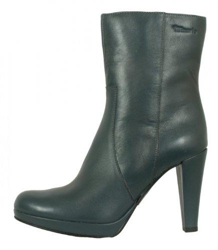 Tamaris Damen Leder Stiefel Gr.38 Stiefelette 10cm Absatz 1