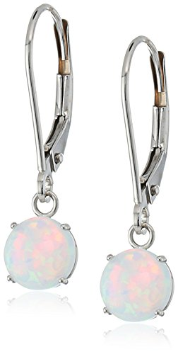 10k White Gold Round Checkerboard Cut Created Opal Leverback Earrings (6mm)