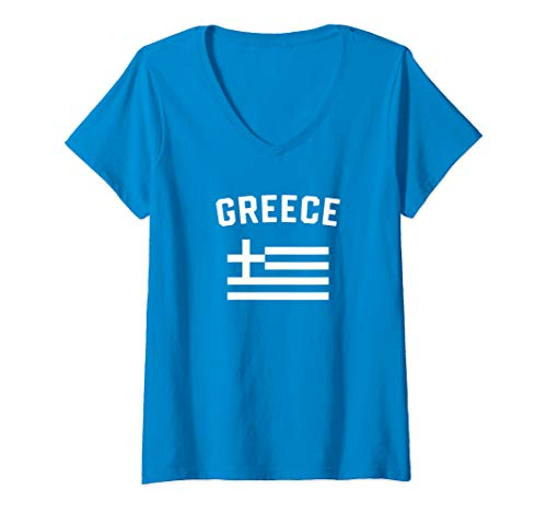 (Womens I Love Greece Minimalist Greek Flag V-Neck T-Shirt)