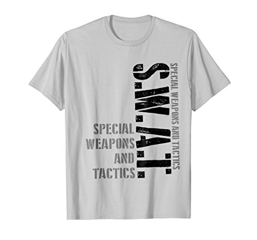 f1960e80 Mens SWAT Team SRT Police T-Shirt for LEO Off Duty Cops Law Small Silver