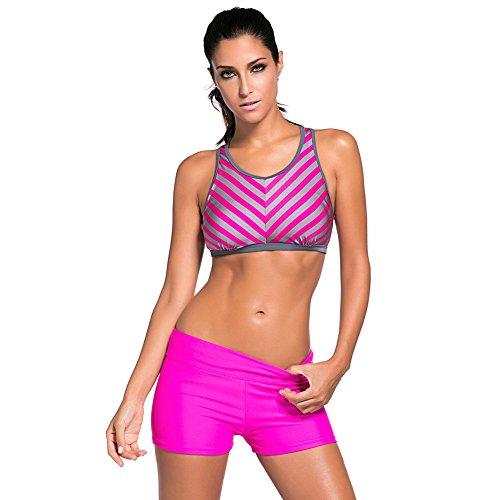 ZQA&N Bikini mujer _ conservador movimiento rayas en traje de baño de gran tamaño L