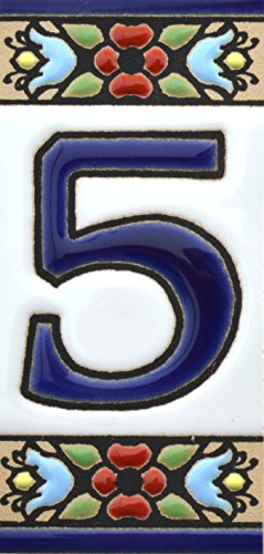 House numbers 3 inch. Handpainted house number tiles for signs, addresses and names. Address numbers for houses. House address numbers and letters. Design FLORES MINI 2,87