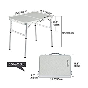 "REDCAMP Small Folding Table Adjustable Height 23.6""x15.7""x10.2""/19"", Aluminum Camping Table Lightweight"