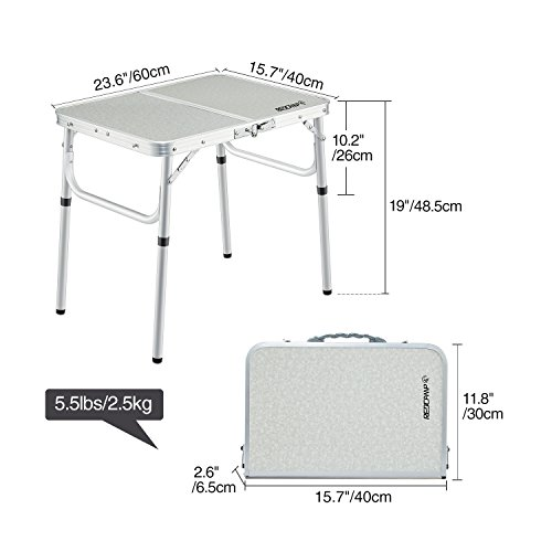 Redcamp Small Folding Table Adjustable Height 23 6 Quot X15 7
