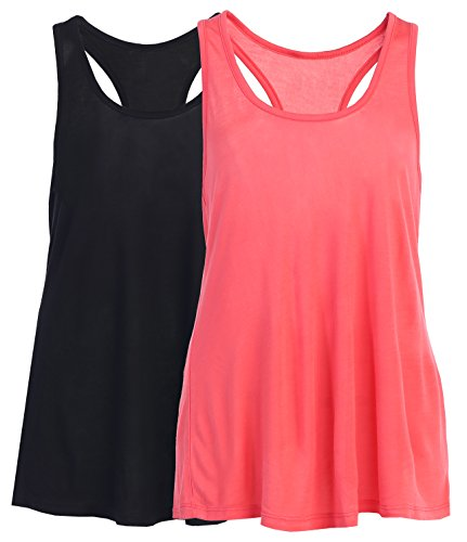 Women Plus Cool Relaxed Loose Fit Knit Racerback Sports Tank Tops Blk Coral XXL