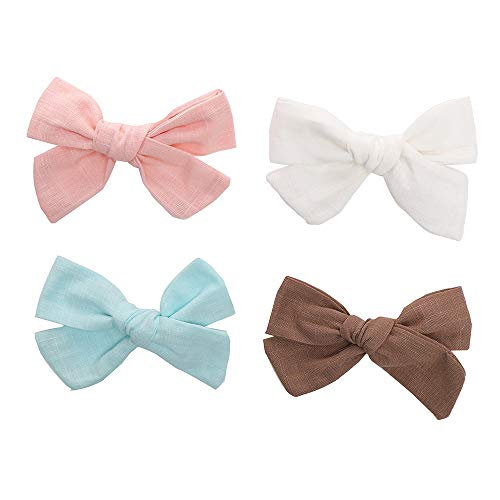 4 inches Bows For Girls Linen Fabric Hair Clips For Kids Toddlers Teens Children Gifts (Blue hair clips)