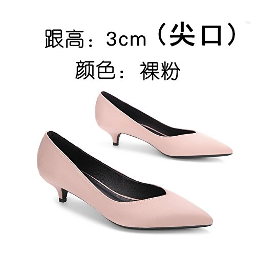 FLYRCX La patente tacones boca superficial con una punta fina zapatos señora temperamento boca superficial zapatos de cuero n