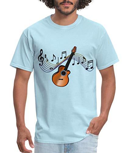 Spreadshirt Acoustic Guitar Musical Score Men's T-Shirt, L, Powder Blue