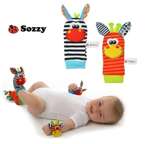 Baby Socks Toys Wrist Rattles and Foot Finders Set 4 pcs New Style (Card Finder Magic Trick)
