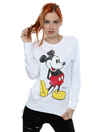 Disney Women's Mickey Mouse Classic Kick Sweatshirt XX-Large White by Disney
