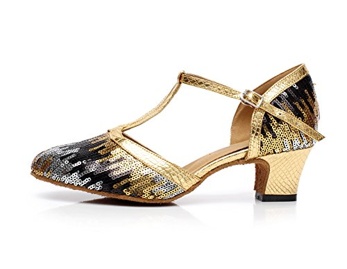 JSHOE Danse Latine Des Femmes Closed Toe High Heel UP Cuir Paillettes Salsa Tango Chaussures De Danse Moderne,Gold-heeled5cm-UK7/EU41/Our42