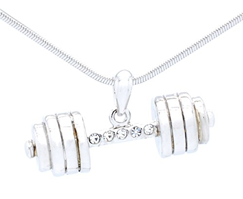 Bell Chain Necklace (Dumbbell Necklace - Weightlifting - Powerlifting - Crossfit Necklace - Clear)