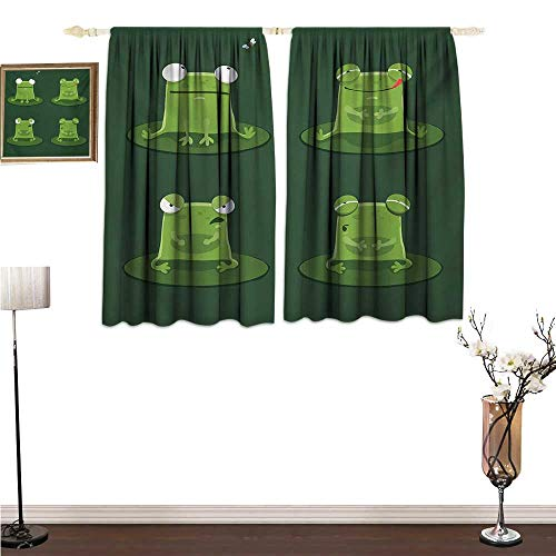 PriceTextile Kitchen Curtains Funny,Funny Muzzy Frog on Lily Pad in Pond Hunting Tasty Fly Expressions Cartoon Animal,Hunter Green Window Drapes for Bedroom W55 x G63