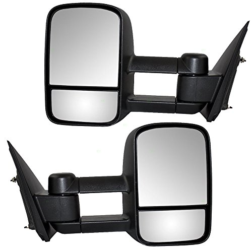 Pair Set Manual Side Tow Mirrors w/Telescopic Dual Arms Replacement for 2014-2018 Silverado Sierra 2019 LD/Limited Pickup Truck 22820395 22820396 AutoAndArt