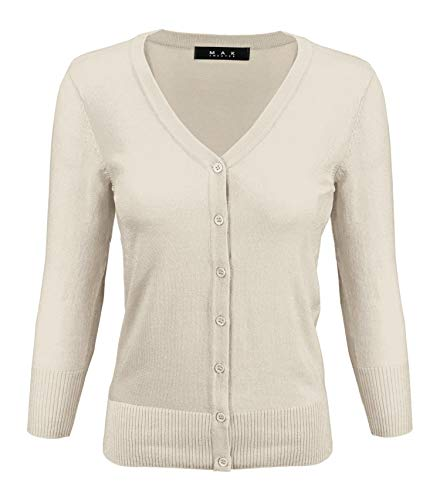 YEMAK Women's 3/4 Sleeve V-Neck Button Down Knit Cardigan Sweater CO078-Oatmeal-L ()