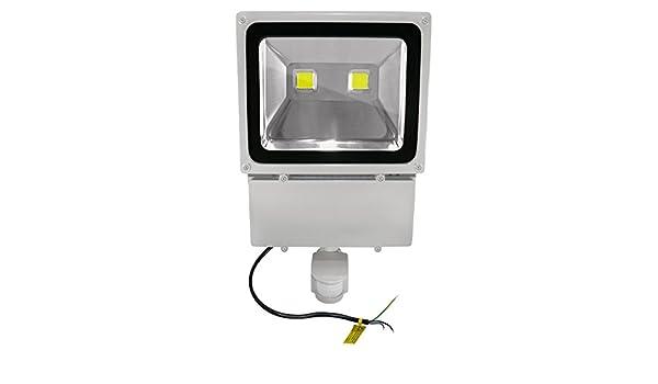 COB LED Foco exterior con detector de movimiento - IP65 - 100 W 5000 K, Blanco Frío - 9000 lúmenes (equivalente a 900 - 1000 W halógeno) - Juego de 6: ...