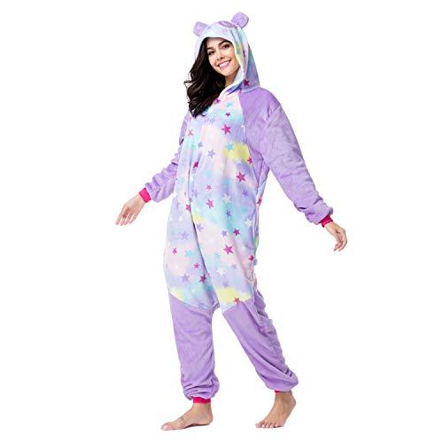 RONGTAI Adults Unisex Animal Kigurumi Flannel Panda Onesie Pajamas Cosplay Costume(S(4'9