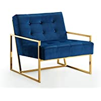 Meridian Furniture 523Navy Pierre Gold Accent Chair, Navy