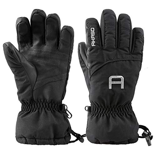 (AKASO Ski Gloves - 3M Thinsulate Insulated Warm Snow Gloves, Windproof Waterproof Breathable Winter Gloves for Men & Women)
