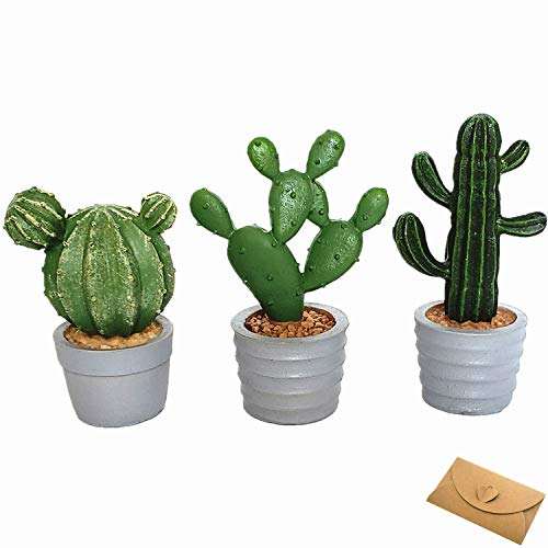 (BECOR Artificial Cactus Potted Succulent Plant Outdoor Garden Sculpture Resin Statue Table Top Collectible Figurine Home Decor Gift Card, Set of 3 )