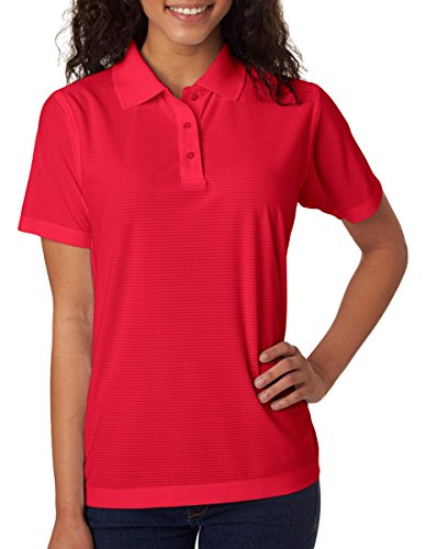 (UltraClub Ladies Cool & Dry Box Jacquard Perfo 8250L -Red M)