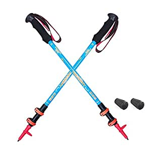 "MOUNTAIN YOYO ""Discovery 6061"" Flip Lock Light Weight (Aviation Aluminium Alloy 270g, 9.5oz) Walking Poles Trekking Poles Walking Stick Telescoping Men Women MYYM321AABLU2"