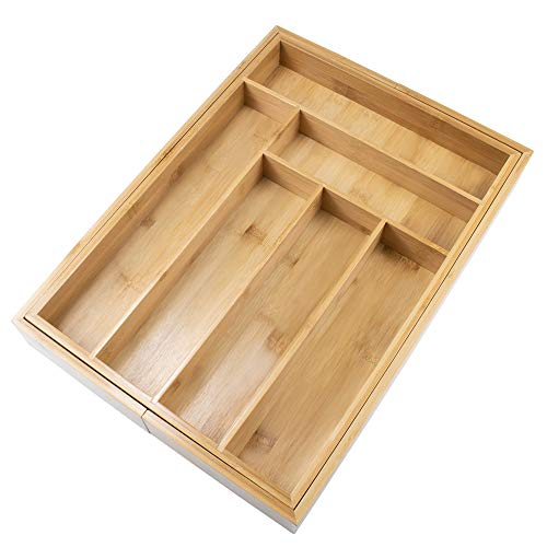 (Bamboo Expandable Utensil Drawer Organizer, 6-8 Compartments Adjustable Kitchen Cutlery Tray by HTB)