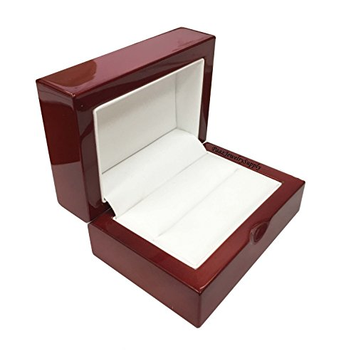 Cherry Wooden Wedding/ Bridal Set Double Ring Jewelry Gift Box