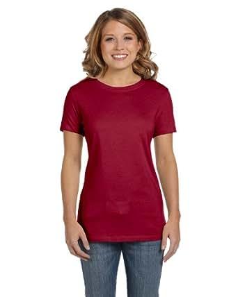 Bella Ladies 5.8 oz. Cotton 1x1 Rib Cap Sleeve T-Shirt (S / CARDINAL)