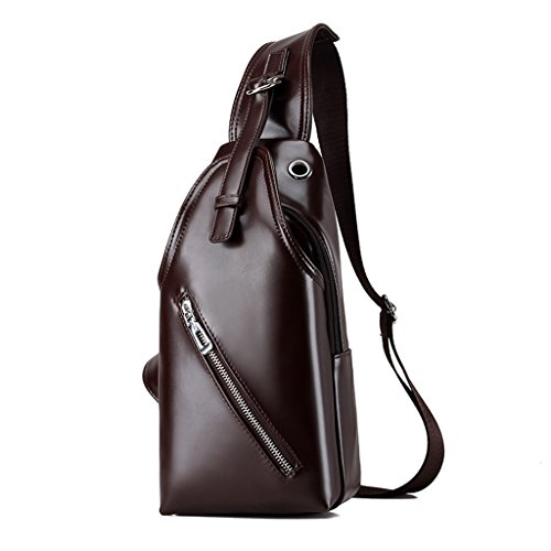 Leather Ff Multi Bag Travel theft Large Retro Chest Men's Slung Brown 30cm 15 Sling Sports Blue color size Backpack capacity 6 Anti Pu Casual functional Shoulder Outdoor rPqwrfYx