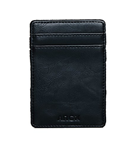 ARCK Ultra Slim Magic Wallet for Men and Women, Handmade Thin Leather Card Wallet, Incl. RFID Protection (Black) – Great Gift Idea