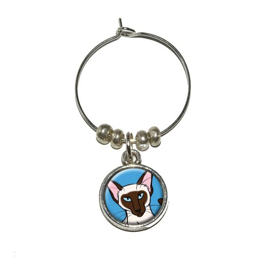 Siamese Cat Wine Glass Charm
