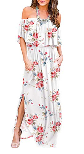 (LILBETTER Womens Off The Shoulder Ruffle Party Dresses Side Split Beach Maxi Dress (XS, F White))