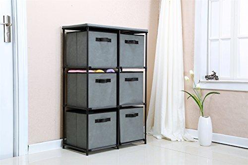Home 6 Drawer Chest (Homebi 6-Drawer Storage Chest Shelf Unit Storage Cabinet Multi-Bin Organizer with Removable Non-woven Fabric Bins in Grey,25